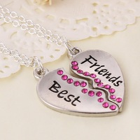6 sets /lot  fashion jewelry items best friends letter heart pendant of  two halves necklace