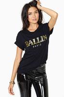 New 2014 Fashion Women T Shirt Ballin Gilding Print  T-Shirt Women Tops Tee HD77