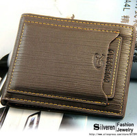 Fashion hot selling leather men brand wallet and purse with removable card slots (Silveren AS100124)