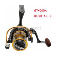 8+1BB Ball Bearings 5.1:1 Left/Right Interchangeable Lightweight aluminum spool Fishing Spinning Reel GT4000A Fly Fishing Reel