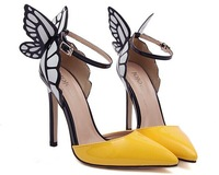 Europe and the United States Sophia vampire diaries butterfly wings patent leather women with pointy shoes 2 big size 40