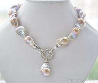 "New fine pearl jewelry Rare 18"" 23mm lavender baroque keshi Pearl Necklace pendant"