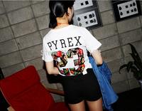 Free shipping 2014 New 23 pyrex print Harajuku  women t shirts female girl big size causal t-shirt tops for womens
