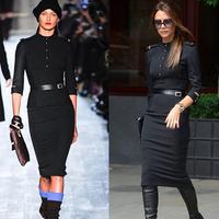 2014 new Victoria Beckham Fashion Women Slim Stand Collar Elegant Cotton Knee-Length Pencil Dresses black with belt lyq08