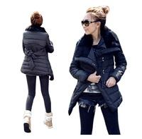 New Original 2014 Natural Fur lapel cotton-padded clothes autumn winter outwear Women Medium-long jacket Rabbit fur collar