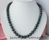 """New fine pearl jewelry Rare 18"""" 11-12mm round Tahitian black Pearls necklace 925 silver"""