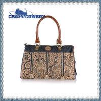 New Fashion Big Brand Female Vintage Lace Flower Denim Jean Canvas Handbag Tote Bag Women Brown Cowboy Shoulder Bags