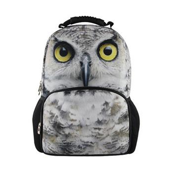 2014 новых прибытия 3D OWL мужские школьные сумки , модные дети печатать школьную для мальчиков и девочек , животных рюкзак для мужчин и бесплатной доставкой