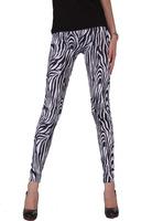 New High Waist Patterned Stripe Fitness Brand White Zebra Stripe Rayon Leggings For Women 2014  leggings