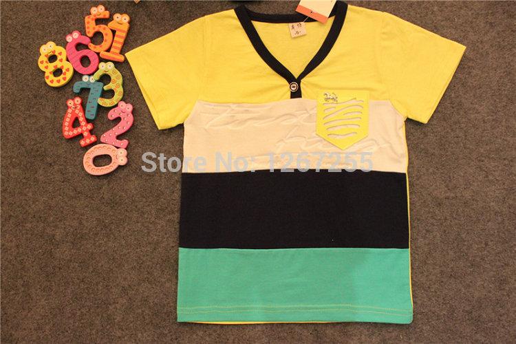 Retail 2014 new summer Kids Boys Striped stitching casual T-shirt best quality fashion cute charming cartoon cotton girls tshirt(China (Mainland))