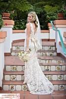 D56 vestido de noiva 2014  fashionable  quality mermaid lace backless bow v neck wedding dress  bridal gown  customize