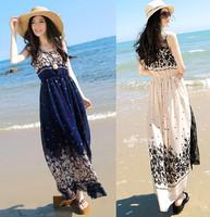 2014 fashion sleeveless chiffon one-piece dress bohemia beach full dress female beautiful wholesale price summer dresses