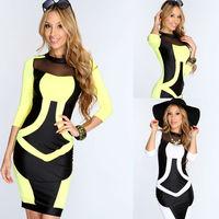 Wholesale Cheap ML18051 M/L Black White Yellow Patchwork Mesh Women Clothing Fashion Bodycon Short Dress With Long Sleeves