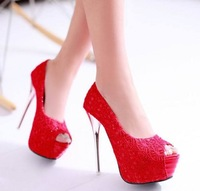 FREE SHIPPING 2014 LD-P1731 Women Lace Gold Silk Fabric 13.5CM Ultra High heel Pumps Weddding/Party/Cosplay Shoes 3 Color