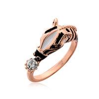 2014 Hot Selling Korea Latest Fashion Charm Rhinestones Metal Small Cute Horse Shape Rings Hot High Quality Jewelry Woman Free