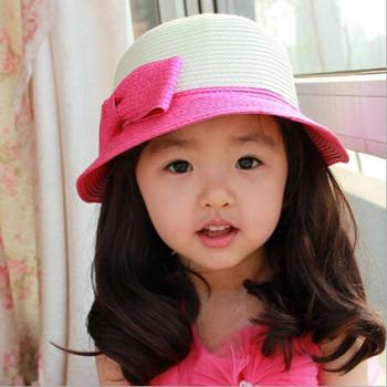 Новый 2015 лето родитель-ребенок шляпа девушки женщины солнце крышка дети пляж шляпы с бантом соломенная шляпка Cap мать с бантом соломенная шляпка Cap бесплатная доставка