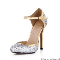 2014 New Glitter silver Buckle Strapgold high heels ladies high heel sexy party dress wedding princess shoes for girl/woman