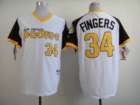 2014 stitched men's baseball jersey san diego padres #34 Rollie Fingers brown/white throwback Baseball Jerseys Embroidery logos