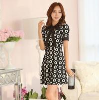 2014 New European Style Summer Women Short Bow Flower Dot  Dress Ladies Princess Dresses Free Shipping