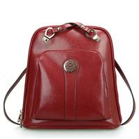 cowhide genuine leather women backpack 2014 hot sale school bag casual vintage preppy backpack 0460
