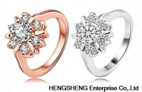 2014 Unique Fashion Flower Ring 18K Rose Gold/Platinum Plate Genuine Swiss Zircon  Lovers Engagement Ring RIC0022