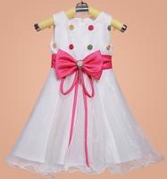 Girl's Paty Dress Nice Bowknot Dot Decoration Children Formal Celebration Dress Kid's Evening Dress 6pcs/lot
