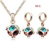 Wholesale 14 Colors Gold White Gold Plated Ball Shaped rhinestone Jewelry Sets jewelry Make With Crystal Elements 1111k