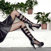 2014 ultra high heels strap high heels platform cool boots galligaskins summer women's gladiator boots
