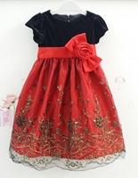 Graceful Girl's Paty Dress Summer Shortsleeve Embroidery Flower Child Dress Formal Celebration Children Evening Dress 6pcs/lot
