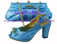 Fashion nice matching shoes and bag set  EVS285 turquoise size 38 to 43 heel 3.5 inch for retail/wholesale free shipping
