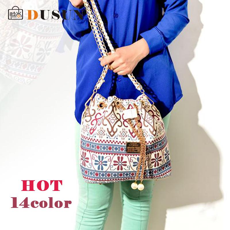 DUSUN Wholesale Drawstring bag Patchwork patterns shoulder messenger bag women handbag chain bag diagonal package canvas totes(China (Mainland))