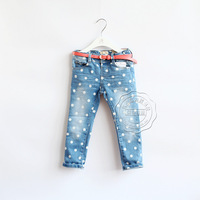 New 2014 Autumn baby &kids clothing boys and girls fashion wave point jeans Children kids denim jeans with belt 5pcs/lot