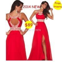Free Shipping Red Empire 2014 New Chiffon Long A-Line Prom Dresses/Evening Dresses Vestido de Festa With Sashes 031