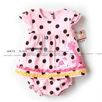 New arrival 2014 summer baby & kids clothes sets girls Short sleeve polka dot T-shirt dress + child shorts sets girl t shirt