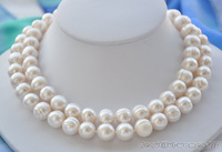 """New fine pearl jewelry genuine natural 32"""" 12mm NATURE white round pearls necklace"""