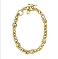 4pcs/lot Wholesale Fashion 18K Gold And Silver Charm Michael LOGO Thick Chain Necklace For Women,original factory supply