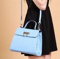 Genuine leather women handbag fashionable casual ostrich cowhide women messenger bags cross-body totes women bags