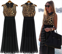 New 2014 Street Fashion Summer Dress Women's Sexy Leopard Print Chiffon Dress Casual Sleeveless Dress S/M/L/XL Black Long dress
