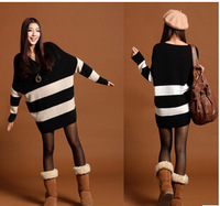 Free shipping Autumn 2014 new women's V-neck and long sections thick stripes bat sleeve loose big yards sweater sweater QY011