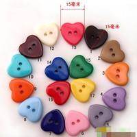 Free Shipping 300pcs Mixed 15mm multicolour love resin button cute children Button garment accessories shirt button