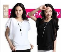 2014 summer short-sleeve t-shirt female women's top faux two piece plus size loose chiffon shirt female