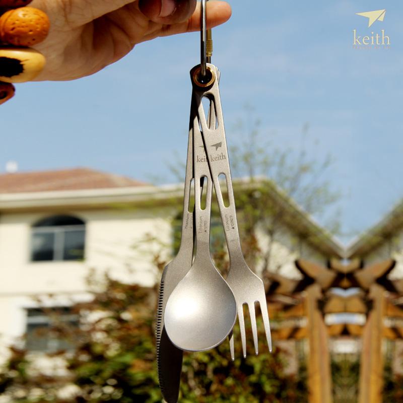 Keith outdoor tableware titanium tableware titanium fork and knife spoon piece set lightweighting kt310(China (Mainland))