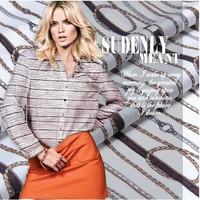 Designer chains print silk fabric 100%pure silk twill cloth fashion 14momme for shirts dress DIY sewing