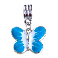 1 Piece , 2014 New Arrival 925 Silver Beads, Lampwork Butterfly Pendant Fit Pandora Charms Bracelets & Necklace ,SPP024