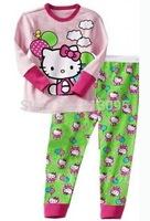 Hello Kitty, Wholesale Baby boys girls Pure Cotton long sleeve T-shirt+pant /clothing set 6pcs/lot