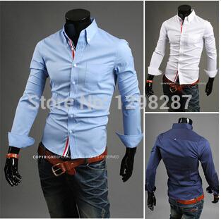 Hot Sale 2014 Men's casual shirts Pure color ribbon adornment concise fashion shirt 3 colour m-xxl(China (Mainland))