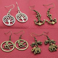 1pcs Shipping 2014 Brand New FASHION Zinc Alloy Retro drop earrings Fortunately tree Phoenix Anchors Punk Elephants Earring