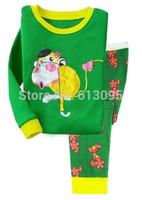 Green,Baby boys girls  Pure Cotton long sleeve T-shirt + pant sleepwear/clothing  set  6pcs/lot