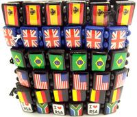 60 pcs 2014 WORLD CUP Football National flag BRACELET Wrist Chain Jewelry gift
