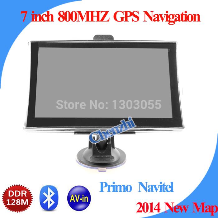 Hd 7 zoll gps navigation mit mtk 800 MHz + windows ce 6.0+ bluetooth+ av- in+128mb ddr2+4gb navigator mit kostenlosem versand